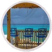 Caribbean View-island Grill Grand Cayman Round Beach Towel