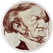 Caricature Of Richard Wagner Round Beach Towel