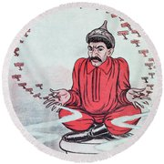 Caricature Of Stalin Round Beach Towel
