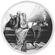 Caricature Of The Romantic Writer Searching His Inspiration In The Hashish Round Beach Towel