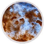 Carina Nebula-dust Pillars Round Beach Towel