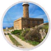 Carloforte Lighthouse Round Beach Towel