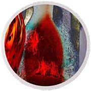 Carmellas Red Vase 1 Round Beach Towel by Kate Word