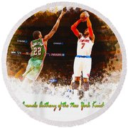 Carmelo Anthony Of The New York Knicks Round Beach Towel