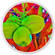 Carmen's Coconuts Round Beach Towel