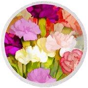 Carnation Bouquet Round Beach Towel