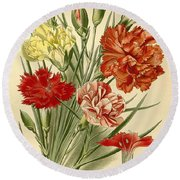 Carnations Round Beach Towel by Philip Ralley