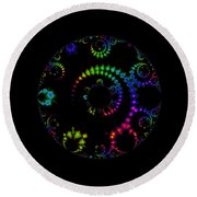 Carnival At Night 1 Fractal Round Beach Towel