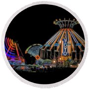 Carnival Rides At Night 04 Round Beach Towel