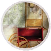 Carnival - The Popcorn Cart Round Beach Towel by Mike Savad
