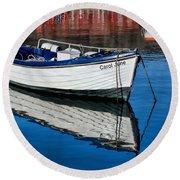 Carol June At Lyme Regis Harbour Round Beach Towel