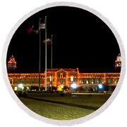 Carol Of Lights And Bell Towers Round Beach Towel