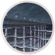 Carolina Beach Pier By Night Round Beach Towel