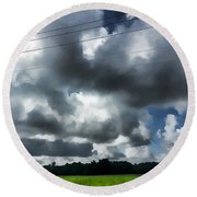 Carolina Clouds Round Beach Towel