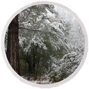Carolina Snowfall Round Beach Towel