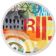 Carousel #6 Ride- Contemporary Abstract Art Round Beach Towel