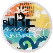 Carousel #7 Surf - Contemporary Abstract Art Round Beach Towel