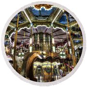 Carousel At Hotel Deville Round Beach Towel