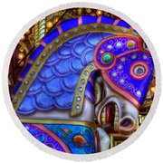 Carousel Beauty Blue Charger Round Beach Towel