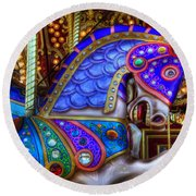 Carousel Beauty Prancing Round Beach Towel