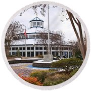 Carousel Building In Snow Round Beach Towel by Tom and Pat Cory