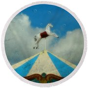 Carousel Day Round Beach Towel