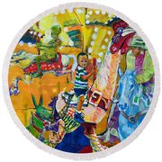 Carousel Dreams Round Beach Towel