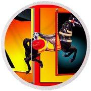 Carousel Horse Fireman 04 In Teal Round Beach Towel