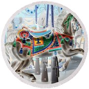 Carousel Horse In Negative Colors Round Beach Towel