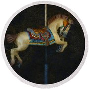 Carousel Horse Painterly Round Beach Towel