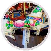 Carousel Horse With Flower Drape Round Beach Towel