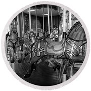 Carousel Horses In Black And White Round Beach Towel