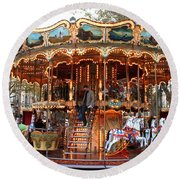 Carousel In Avignon Round Beach Towel