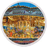 Carousel In Bournemouth Round Beach Towel