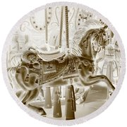 Carousel In Negative Sepia Round Beach Towel