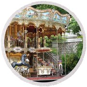Carousel In Paris Round Beach Towel