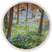 Carpet Of Blue Flowers In Spring Forest Round Beach Towel