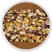 Carpet Of Leafs Round Beach Towel