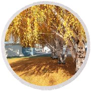 Carpet Of Yellow Leaves Round Beach Towel