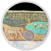 Carriage And Stagecoach Color Invert Round Beach Towel