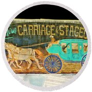 Carriage And Stagecoach Sign Round Beach Towel