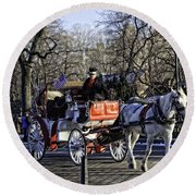 Carriage Driver - Central Park - Nyc Round Beach Towel
