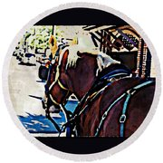Carriage Horse Round Beach Towel