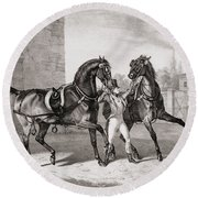 Carriage Horses For The King Round Beach Towel