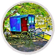 Amish Carriage Round Beach Towel