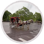 Carriage Ride In Central Park Round Beach Towel