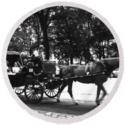 Carriage Ride Nyc Round Beach Towel