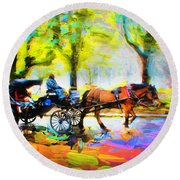 Carriage Rides Series 02 Round Beach Towel