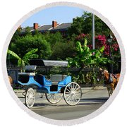 Carriage Tours New Orleans Round Beach Towel
