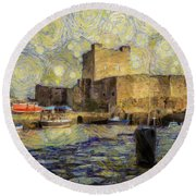Starry Carrickfergus Castle Round Beach Towel